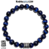 Love Meditation Mantra Mindfulness Self-care Yoga Bracelets. Mens Wellness Wristband Jewelry. Blue Tiger Eye.