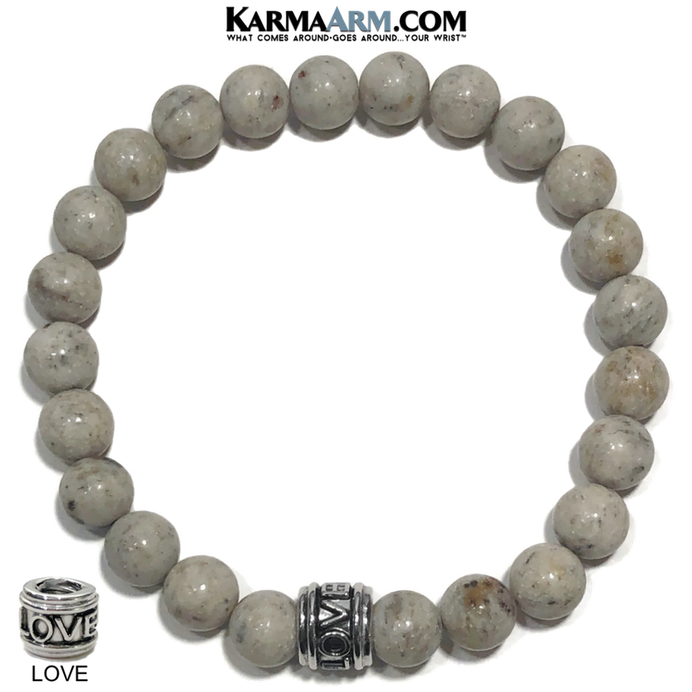 Love Meditation Mantra Yoga Bracelets. Self-Care Wellness Wristband Jewelry. Grey Feldspar.