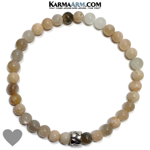 Love Meditation Mens Bracelet. Self-Care Wellness Wristband Yoga Jewelry. Sunstone. 6mm eternity heart.