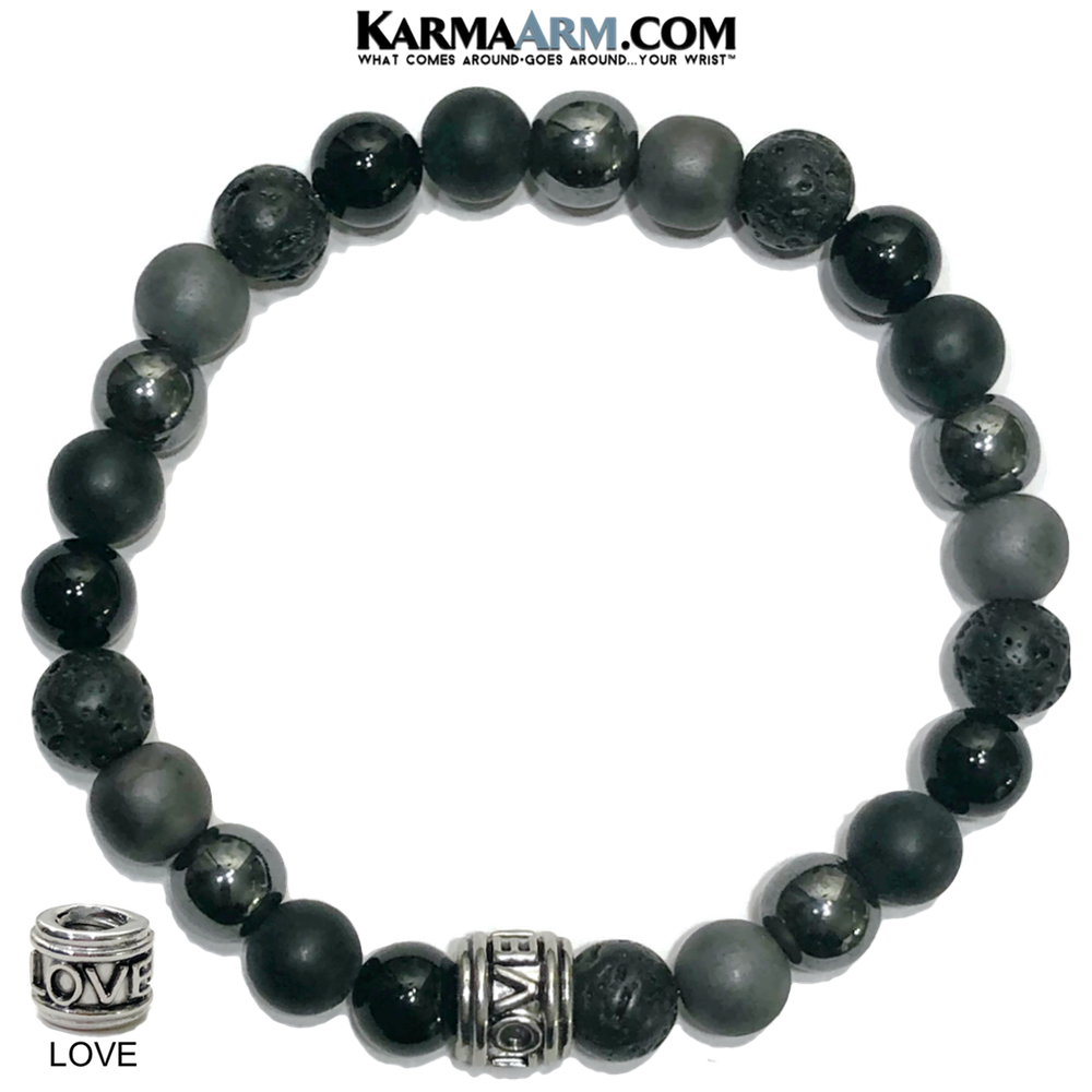 Love Punk Meditation Self-Care Wellness Mantra Yoga Bracelets. Mens Wristband Jewelry. lava Onyx Hematite.