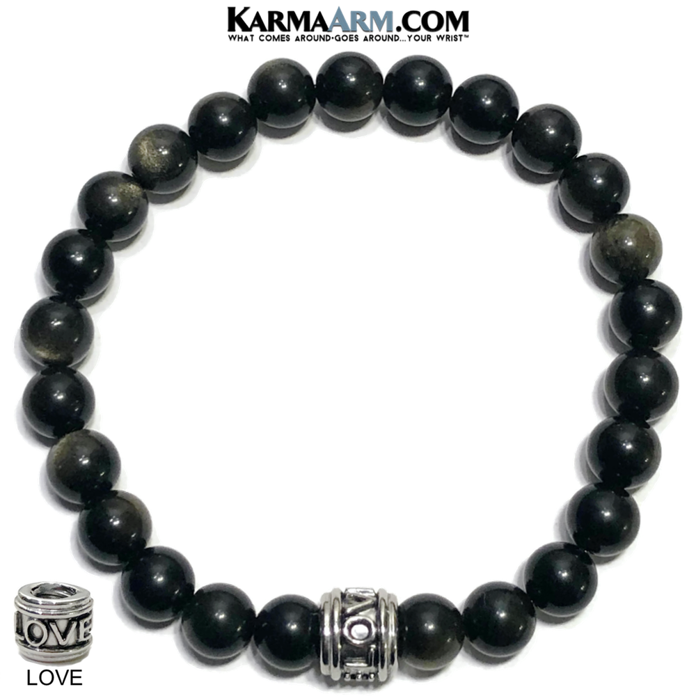 Love Self-Care Wellness Meditation Yoga Bracelets. Mens Wristband Jewelry. Golden Obsidian.
