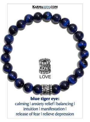 Love Self-care Meditation Mantra Mindfulness Yoga Bracelets. Mens Wellness Wristband Jewelry. Blue Tiger Eye.