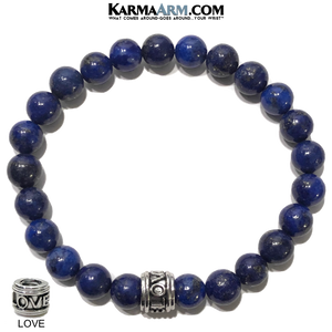 Love Wellness Meditation Mantra Yoga Bracelets. Mens Wristband Jewelry. Lapis.