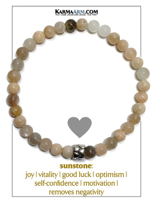 Love Wellness Meditation Mens Bracelet. Self-Care Wristband Yoga Jewelry. Sunstone.  6mm eternity heart.