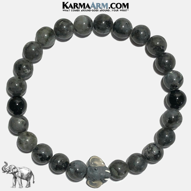 Lucky Elephant Meditation Mantra Self-Care Wellness Yoga Bracelets. Mens Wristband Jewelry. Black Labradorite. copy 2