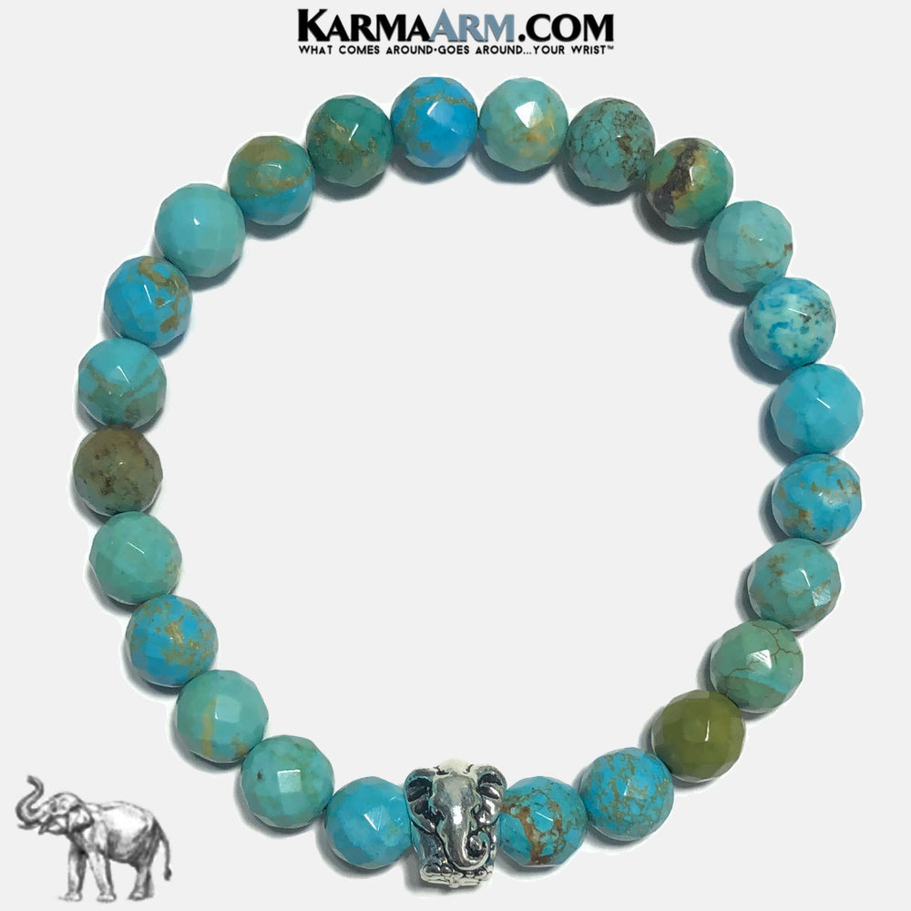 Lucky Elephant Meditation Mantra Self-Care Wellness Yoga Bracelets. Mens Wristband Jewelry. Turquoise Bali Blue.