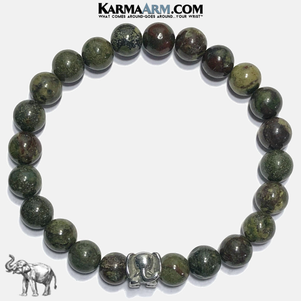Lucky Elephant Meditation Mantra Yoga Bracelets. Self-Care Wellness Wristband Jewelry. Dragon BloodStone. copy