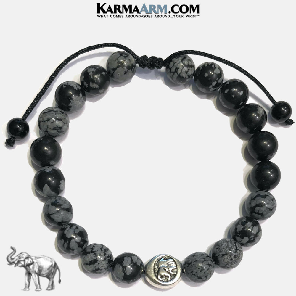 Lucky Elephant Meditation Mens Bracelet. Self-Care Wellness Wristband Yoga Jewelry. Snowflake Obsidian.