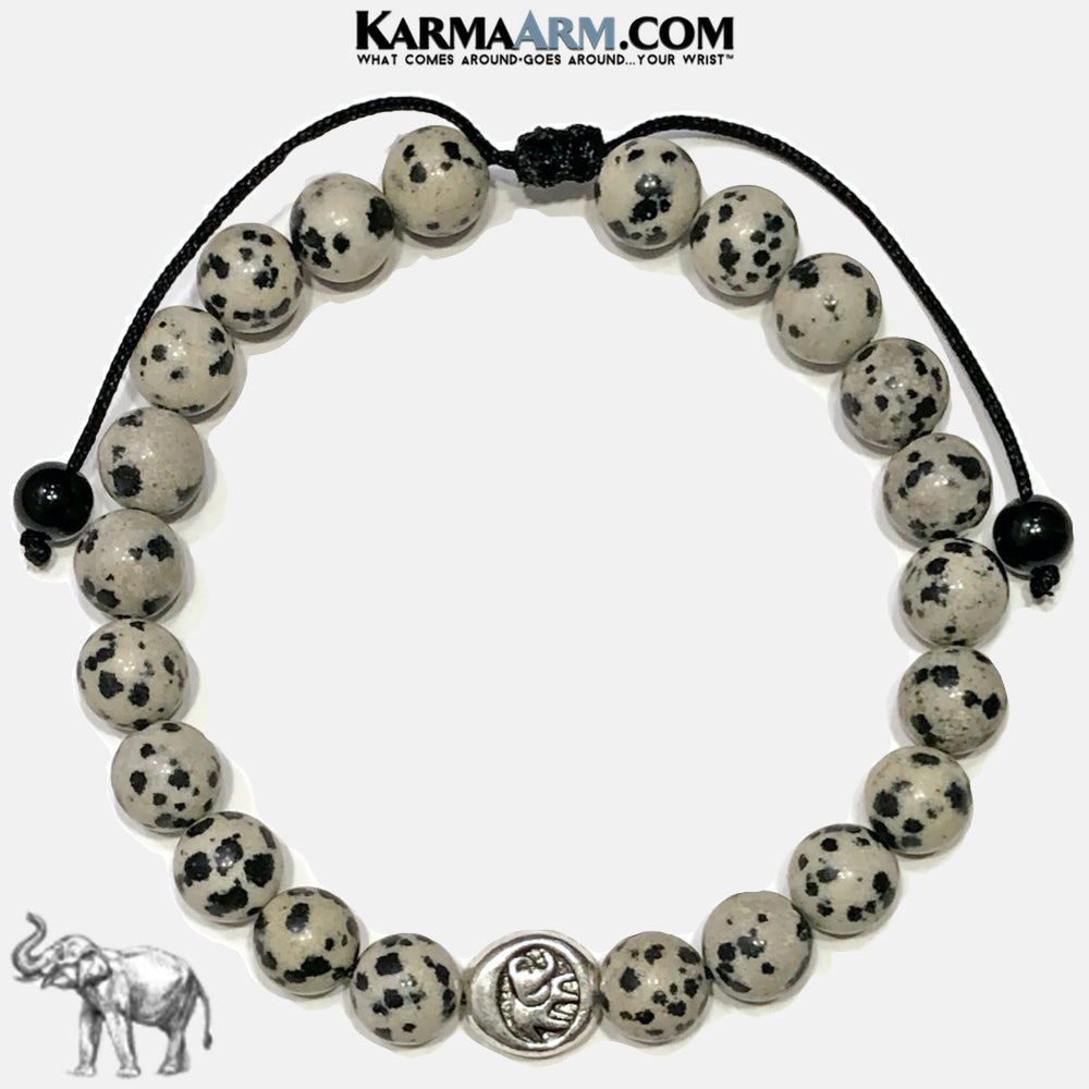 Lucky Elephant Meditation Self-Care Wellness Mantra Yoga Bracelets. Mens Wristband Jewelry. dalmation stone.