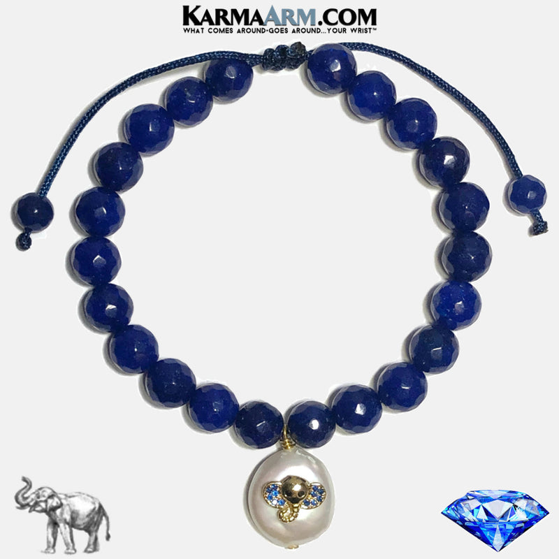 Lucky Elephant Pearl Wellness Self-Care Meditation Mantra Yoga Bracelets. Mens Wristband Jewelry. Blue Jade.
