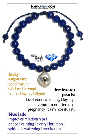 Lucky Elephant Pearl Blue Jade Meditation Mantra Yoga Bracelets. Mens Wristband Jewelry. Textured Stainless Silver. pull Tie Sapphire Blue.