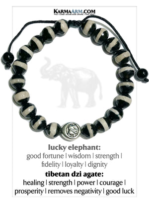 Lucky Elephant Wellness Self-Care Meditation Mantra Yoga Bracelets. Mens Wristband Jewelry. Tibetan Agate.