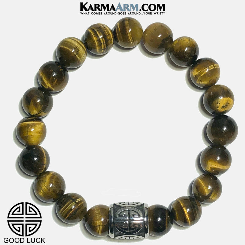 Lucky Good Luck Icon Meditation Self-Care Wellness Mantra Yoga Bracelets. Mens Wristband Jewelry. Tiger Eye. copy
