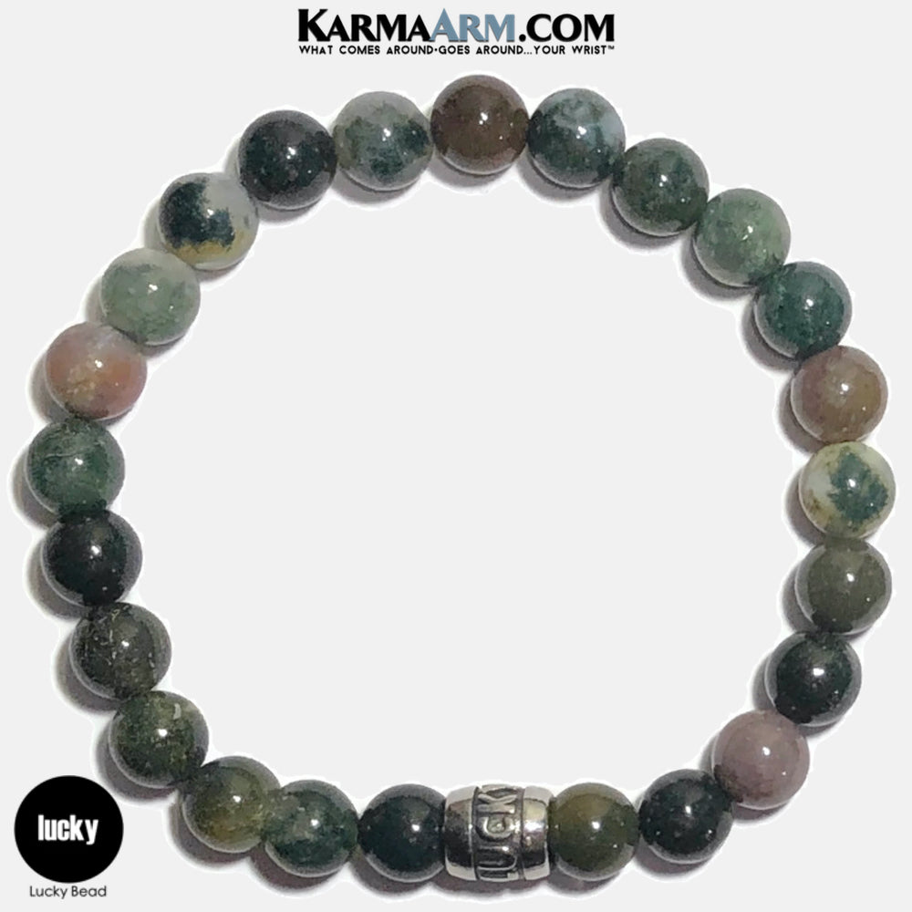 LUCKY Meditation Mantra Yoga Bracelets. Self Care Wellness Wristband Jewelry. Indian Agate.