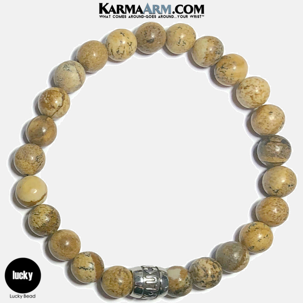 Lucky Meditation Mantra Yoga Bracelets. Self-Care Wellness Wristband Jewelry.  Picture Jasper.