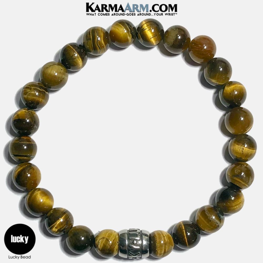 Lucky Meditation Mantra Yoga Bracelets. Self-Care Wellness Wristband Jewelry.  Tiger Eye.