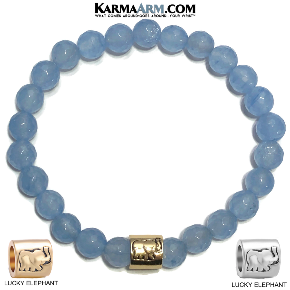 Lucky Elephant Meditation Mantra Yoga Bracelet. Meditation Self-Care Wellness Wristband Zen bead mala Jewelry.  Blue Jade.