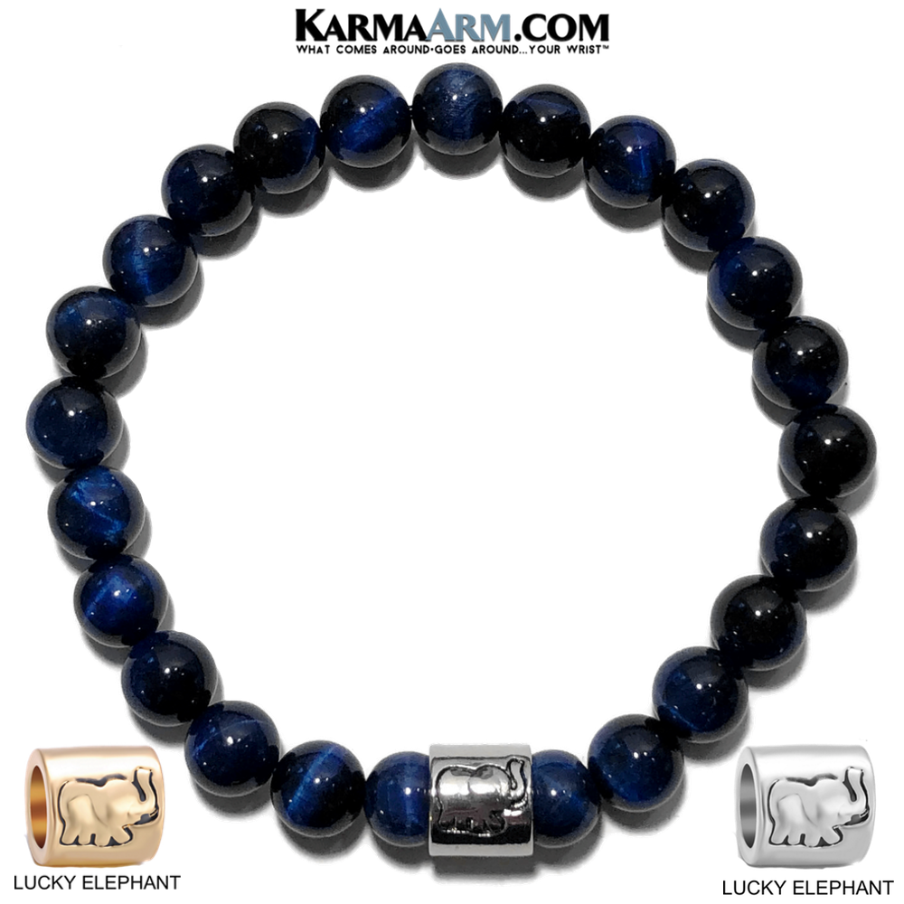 Lucky Elephant Meditation Mantra Yoga Bracelet. Meditation Self-Care Wellness Wristband Zen bead mala Jewelry.  Blue Tiger Eye.