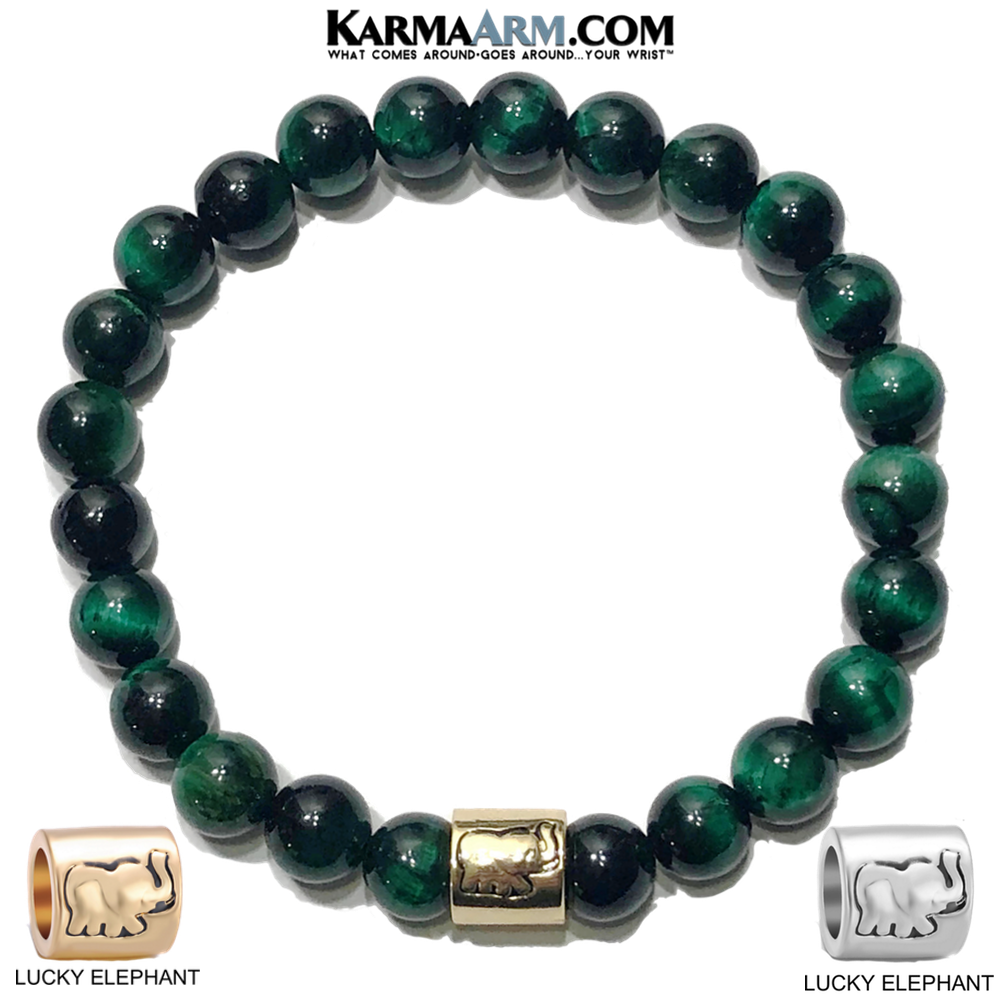 Lucky Elephant Meditation Mantra Yoga Bracelet. Meditation Self-Care Wellness Wristband Zen bead mala Jewelry. Green Tiger Eye.