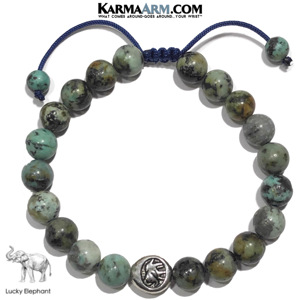 Lucky Elephant Meditation Mantra Yoga Bracelet. Self-Care Wellness Wristband Jewelry. African Turquoise.