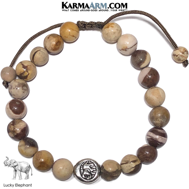 Lucky Elephant Meditation Mantra Yoga Bracelet. Self-Care Wellness Wristband Jewelry. Brown Zebra Jasper.