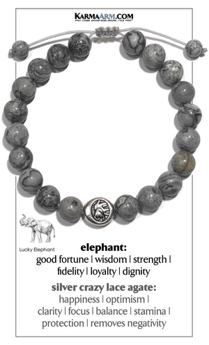 Lucky Elephant Meditation Mantra Yoga Bracelet. Self-Care Wellness Wristband Jewelry. Crazy Lace Agate.