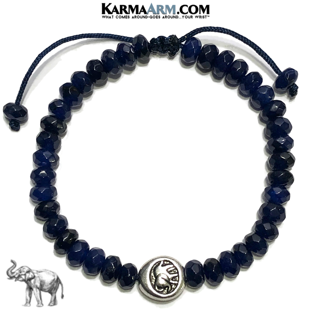 Lucky Elephant Meditation Mantra Yoga Bracelets. Mens Wristband Jewelry. Blue Jade.