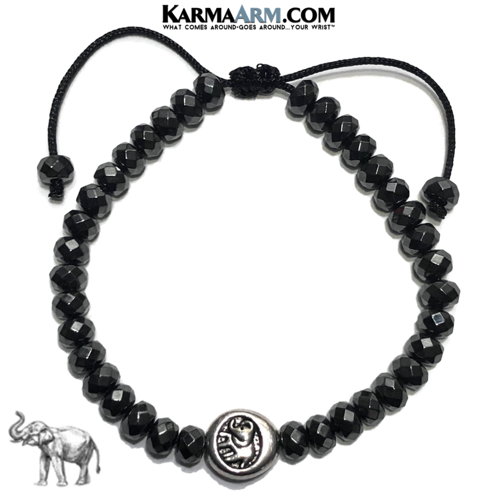 Lucky Elephant Meditation Mantra Yoga Bracelets. Mens Wristband Jewelry. Hematite.