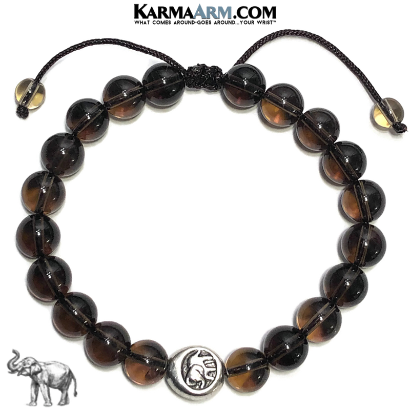Lucky Elephant Yoga Bracelet . Mindfulness Meditation Mens Self-Care Wellness Wristband Bead Jewelry. Smoky Quartz.