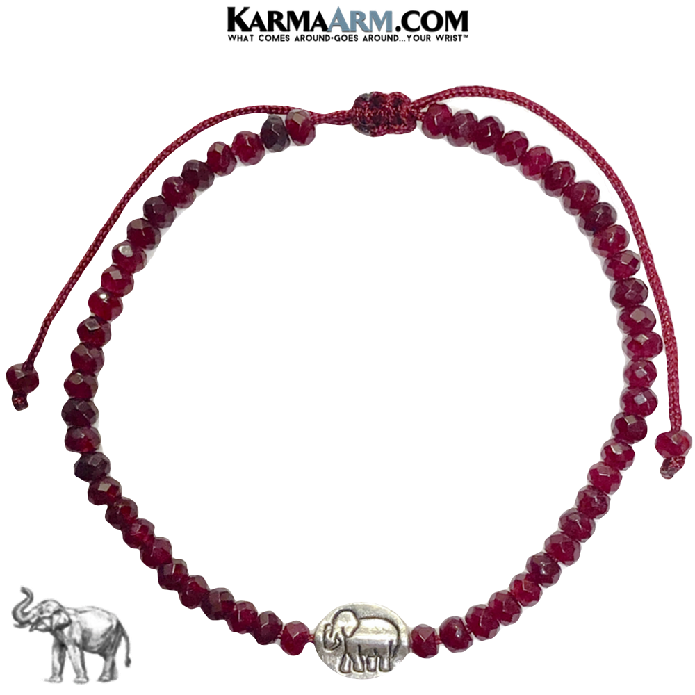 Lucky Elephant Meditation Mindfulness Yoga Bracelets. Self-Care Wellness Wristband Jewelry. Red Jade.