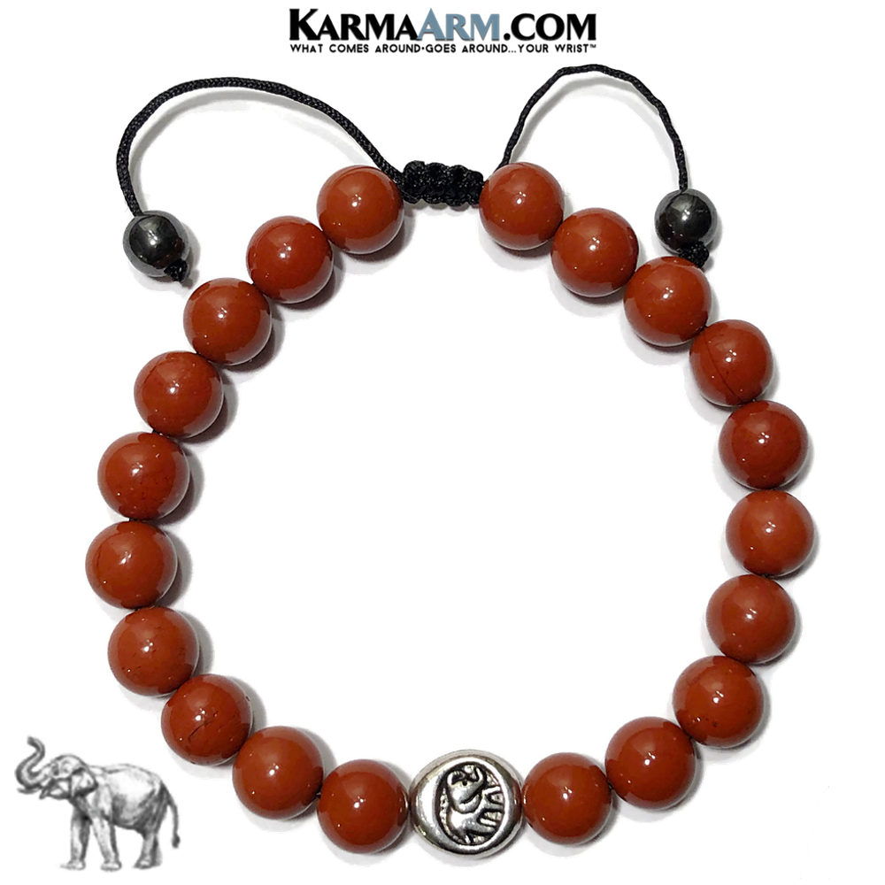 Lucky Elephant Meditation Mindfulness Yoga Bracelets. Self-Care Wellness Wristband Jewelry. Red Jasper.