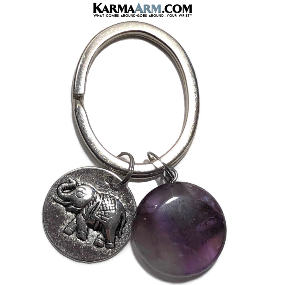Lucky Elephant Meditation Self-Care Wellness Zen Keychain Ring. Amethyst.