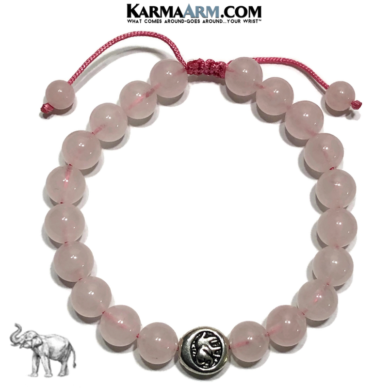 Lucky Elephant Meditation Self-Care Yoga Bracelet. Wellness Wristband Yoga Jewelry. Rose Quartz.