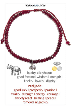 Lucky Elephant Self-Care Meditation Mindfulness Yoga Bracelets. Wellness Wristband Jewelry. Red Jade.