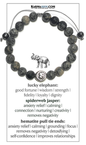 Lucky Elephant Self-Care Wellness Meditation Mantra Yoga Bracelet Wristband Spiderweb Jasper. Hematite Pull Tie Macrame.