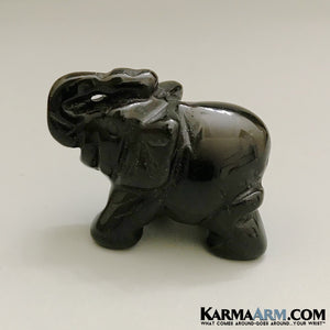Lucky Elephant Statue. Black Obsidian. Desktop Home Decor.