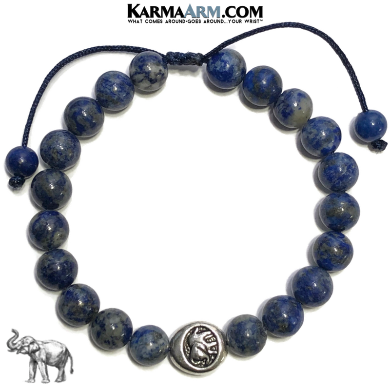 Lucky Elephant Wellness Meditation Mantra Yoga Bracelets. Mens Wristband Jewelry. Lapis.