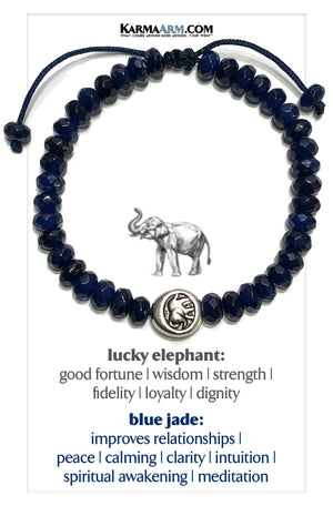 Lucky Elephant Wellness Self-Care Meditation Mantra Yoga Bracelets. Mens Wristband Jewelry. Blue Jade.