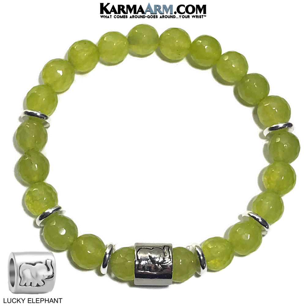 Lucky Elephant Yoga Bracelets. self-Care Wellness beaded mens meditation wristband jewelry. Peridot.