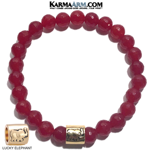 Lucky Elephant Yoga Bracelets. beaded meditation self-Care Wellness wristband jewelry. Red Jade.