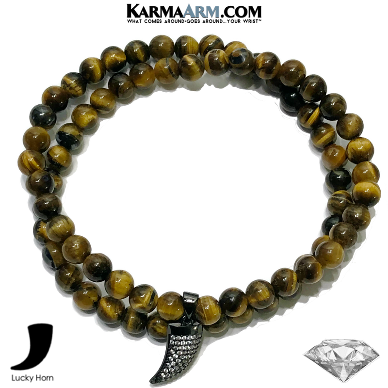 Lucky Horn Tusk cornicello Meditation Self-care wellness Mantra Yoga Bracelets. Mens Wristband Jewelry. Tiger Eye.