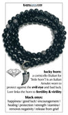 Lucky Horn Wellness Self-Care Meditation Yoga Bracelets. Mens Wristband Jewelry. Black Onyx.   copy 2