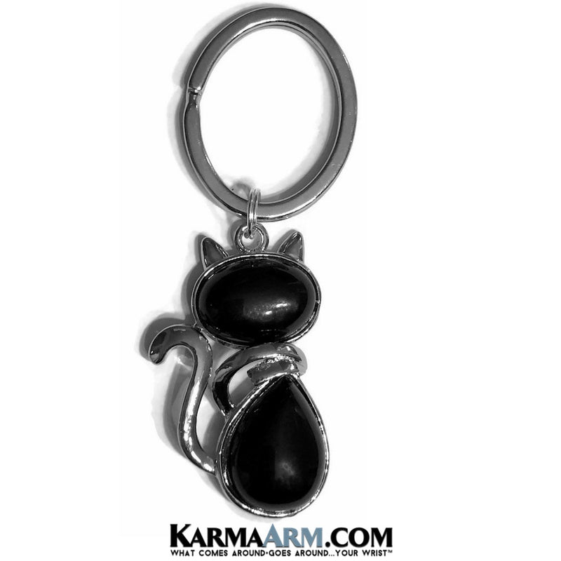 Lucky Keychain. Black Cat Onyx. Key Rings. Gifts.