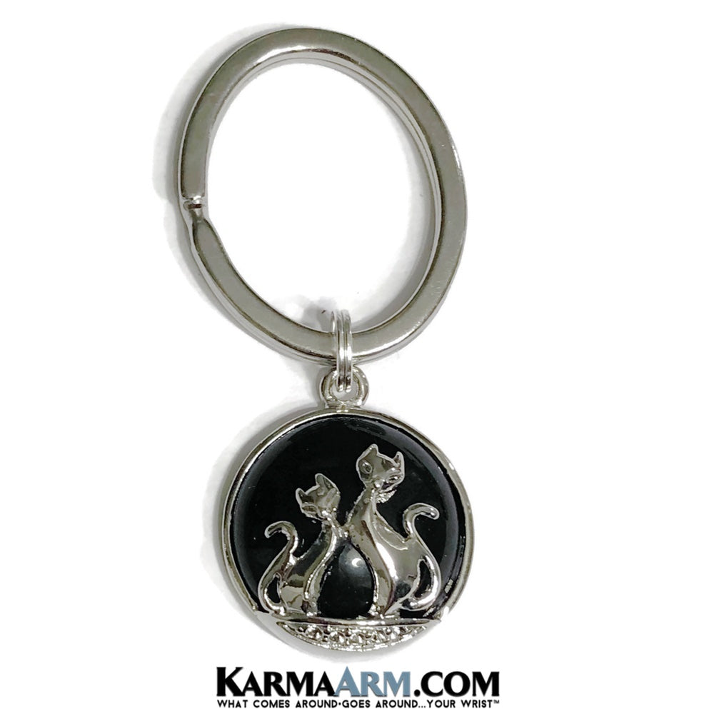 Lucky Keychain. Black Cats Onyx. Key Rings. Gifts.