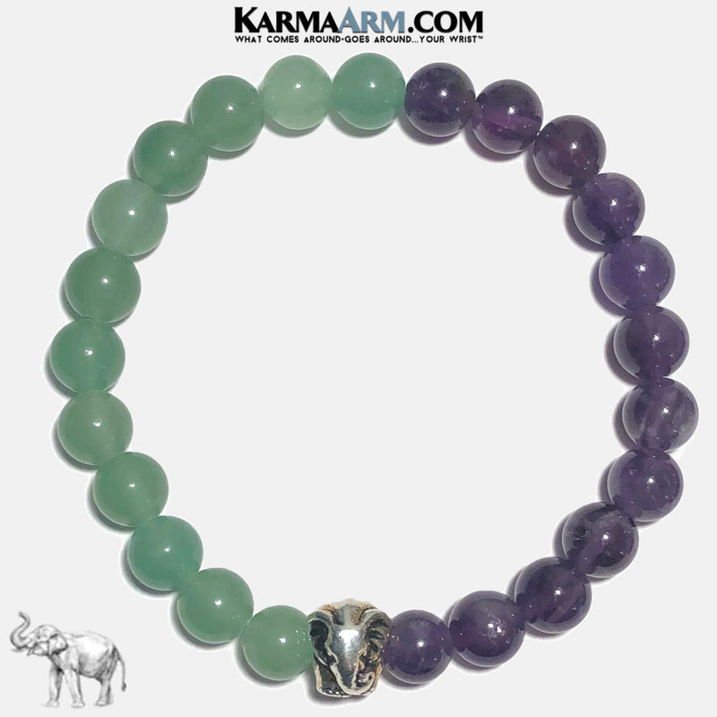 ATTRACT SUCCESS | Green Aventurine | Amethyst | Lucky Elephant Bracelet