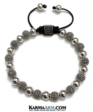 Luxury Beaded Bracelets. Black CZ Diamond Pave Macrame White Gold Jewelry.