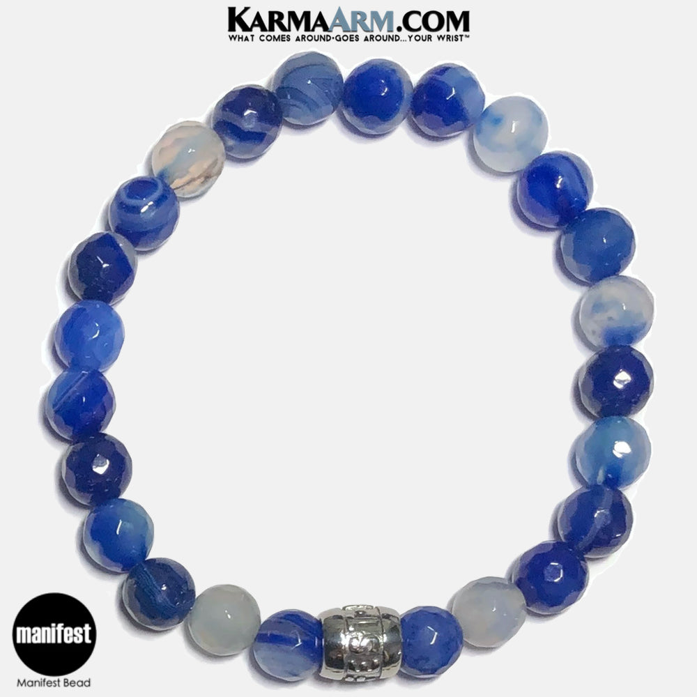 MANIFEST Meditation Mantra Yoga Bracelets. Self-Care Wellness Wristband Jewelry.  Faceted Blue Banded Agate.
