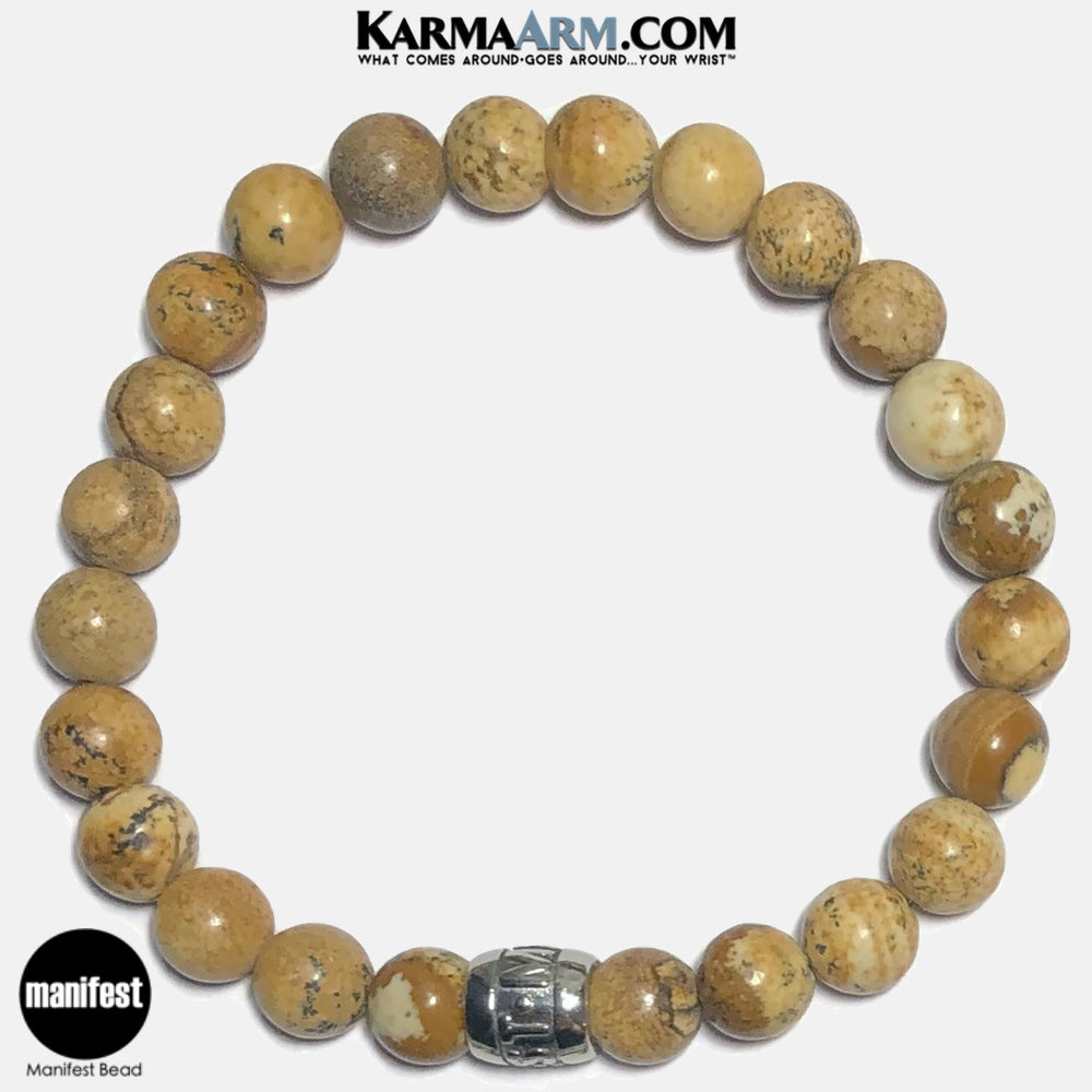 Manifest Meditation Mantra Yoga Bracelets. Self Care Wellness Wristband Jewelry. Picture Jasper.