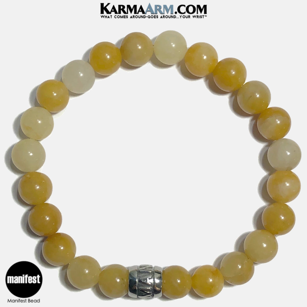 MANIFEST Meditation Mantra Yoga Bracelets. Self-Care Wellness Wristband Jewelry. Yellow Aventurine. copy 8