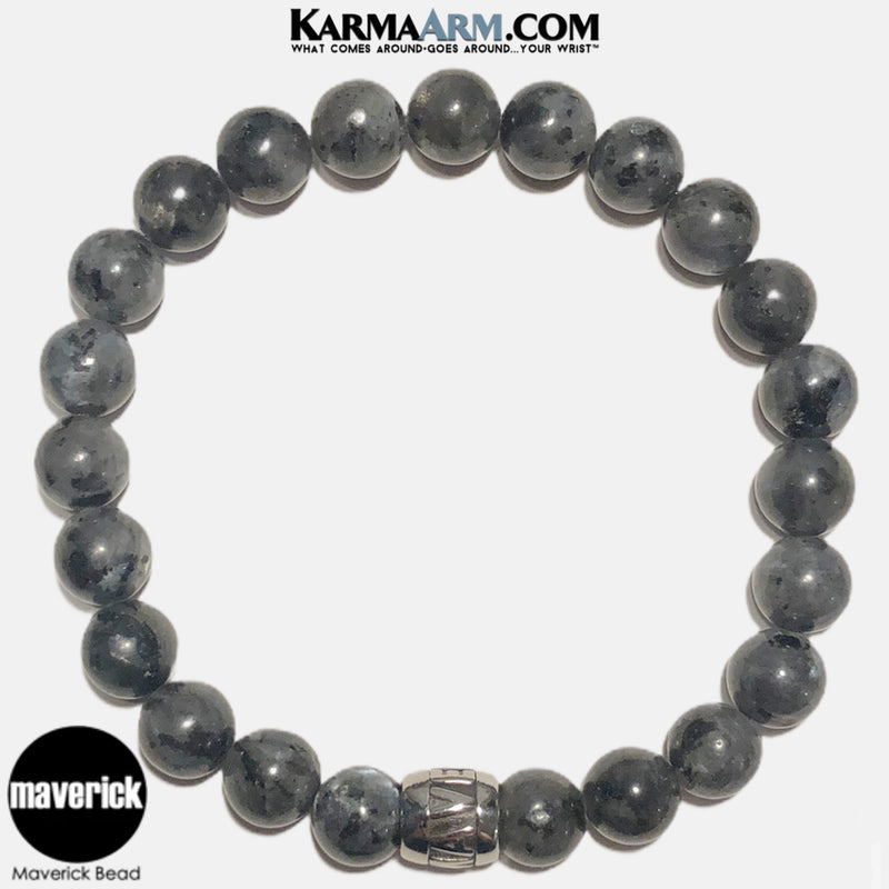 MAVERICK Mantra Mindfulness Yoga Bracelets. Meditation Jewelry. Black Labradorite Moonstone.